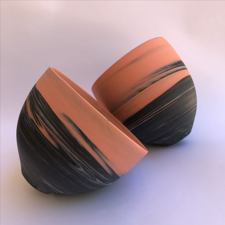 Wheelthrown,porcelain agateware coloured clay, ceramic