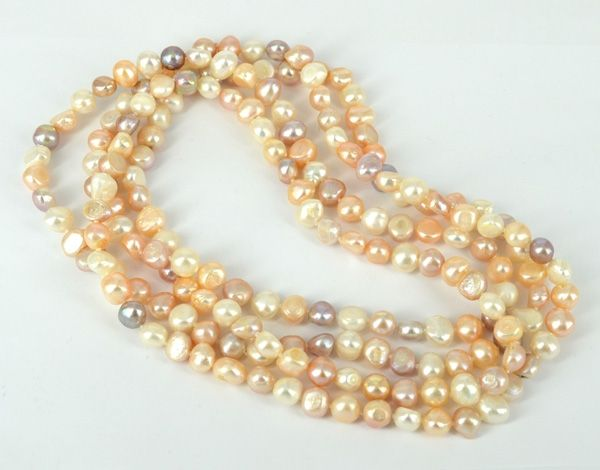 F.W.#Pearl Necklace nat.multi colour 160c http://www.beadthemup.com.au/estore/style/18263.aspx #beads #beading