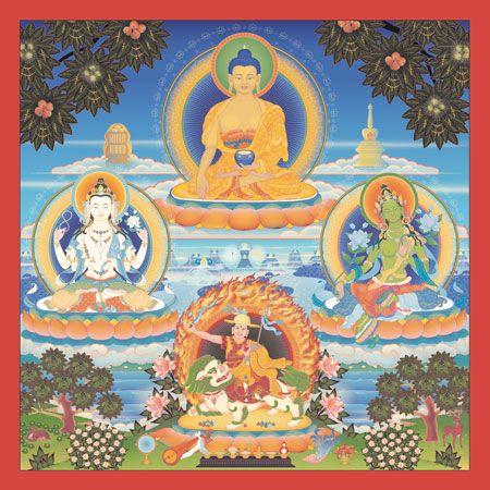 As deidades do Budismo Kadampa    Buda Shakyamuni, Avalokiteshvara, Tara Verde e Dorje Shugden