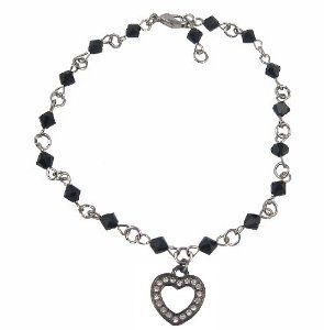 Anklet - A27 - Sized to Fit - Swarovski (tm) Crystal Beads ~ Jet (Black) with Heart Charm Serenity Crystals, Inc.. $13.95. You decide the sizing of this anklet.. Simply clip the loop closest to your comfortable fit... Super Sparkly.. Easy to Wear.. Perfect for small to average ankles... Perfect summer accessory... Made with genuine Swarovski (tm) crystal stones..