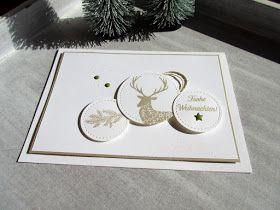 """Ein einfaches Weihnachtskärtchen in savanne, weiß und einem kleinen Akzent in olivgrün ist entstanden. Die drei Motive sind aus dem Set """"..."""