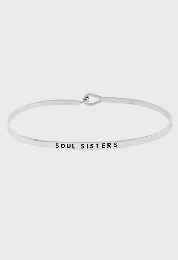 "Silver SOUL SISTERS bangle bracelet. Approx 7"""