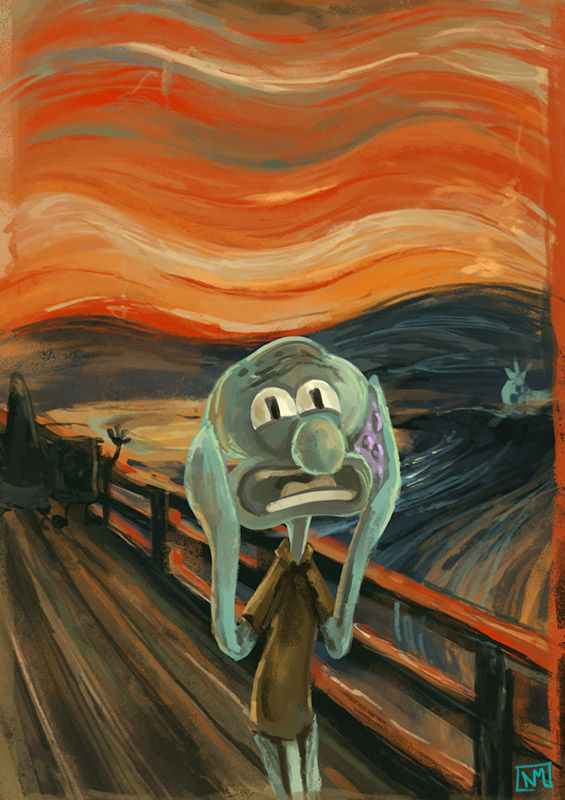 I'm literally the human version of Squidward... Van Gogh + Squidward Tentacles = a very weird painting