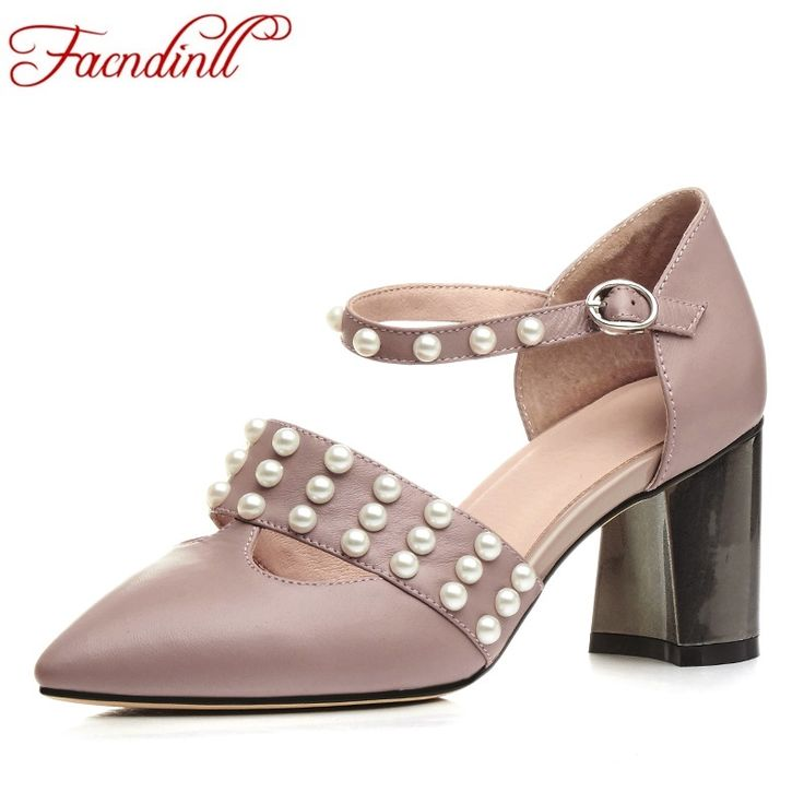 new 2017 fashion genuine leather women pumps summer shoes high heels  pointed toe women dress party