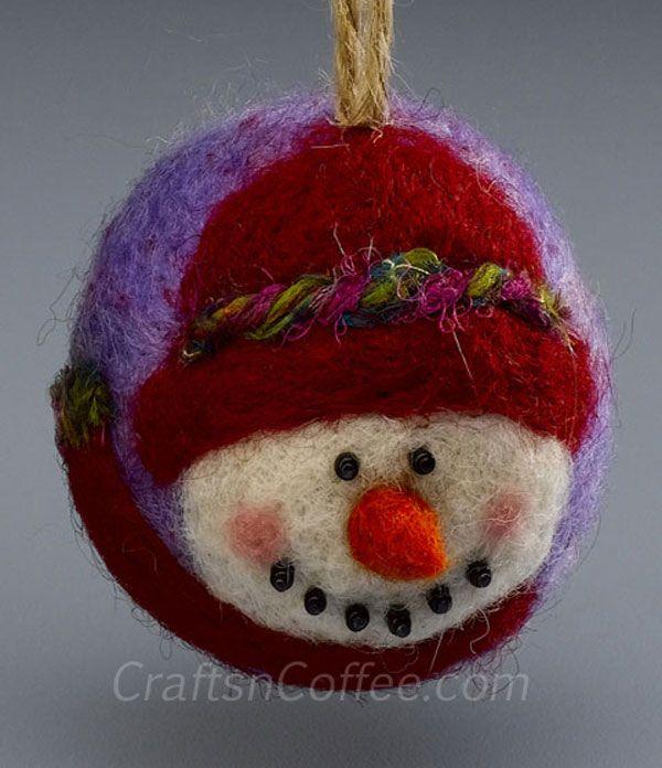 needle felting   Needle-felted snowman ornament tutorial