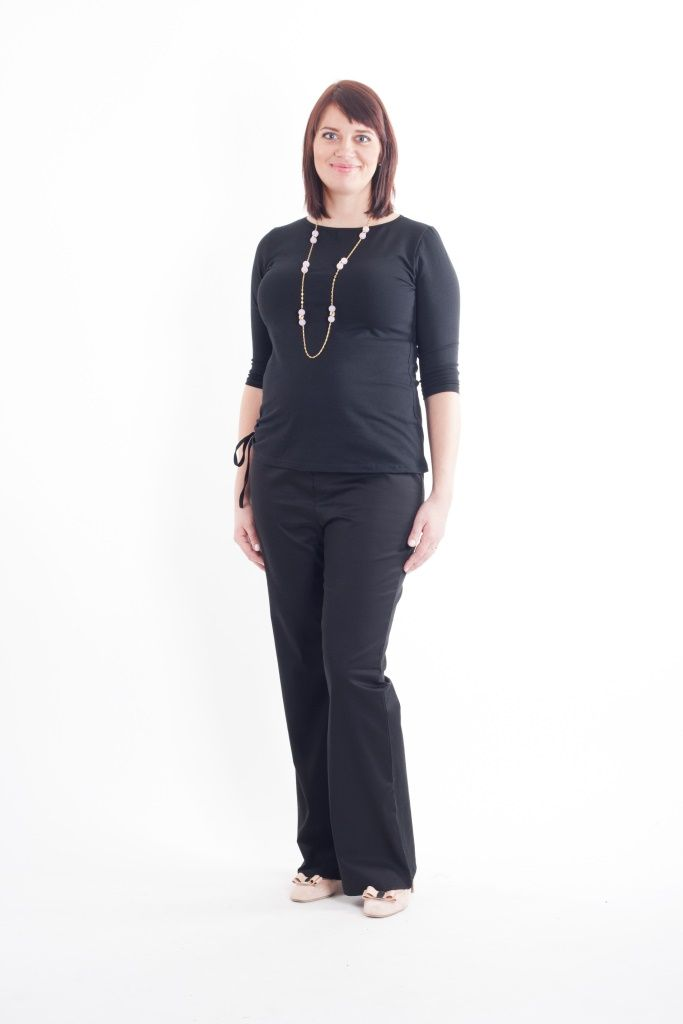 Maternity black boot leg trousers and black t-shirt with 3/4 sleeves