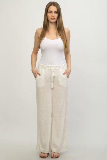 Pantalon lung-alb