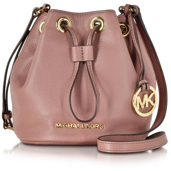 Michael Kors Handbags Jules Soft Leather Drawstring Crossbody Bag ($220) ❤ liked on Polyvore featuring bags, handbags, shoulder bags, dusty rose, michael kors purses, brown leather purse, brown shoulder bag, leather purse and crossbody purse