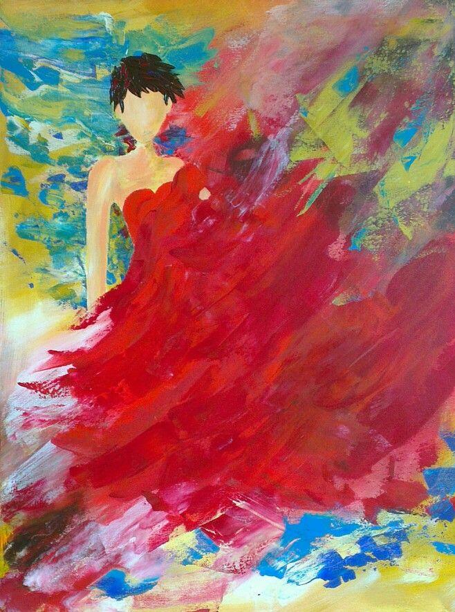 Art, lady in red 60 bij 80 cm.