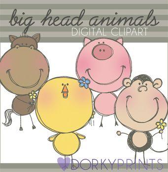 Animals Digital Clip Art - Horse, Monkey, Pig by Dorky Doodles   Teachers Pay Teachers