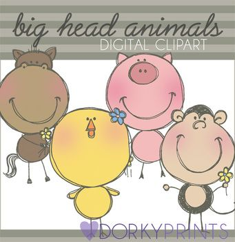 Animals Digital Clip Art - Horse, Monkey, Pig by Dorky Doodles | Teachers Pay Teachers