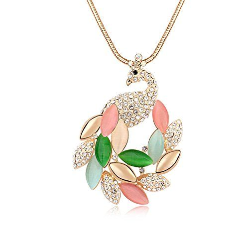 Parati(TM) Fashion Jewelry Peacock Cat's Eye Austrian Crystal Charm Pendant Necklace For Women Girls, Christmas Romantic Valentine Gift, Multicolor Parati:
