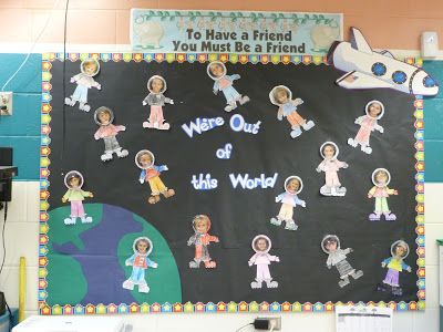 17 best ideas about space bulletin boards on pinterest for Space themed book corner