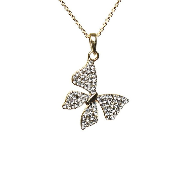 Mikey Gold Crystal Butterfly Necklace £19
