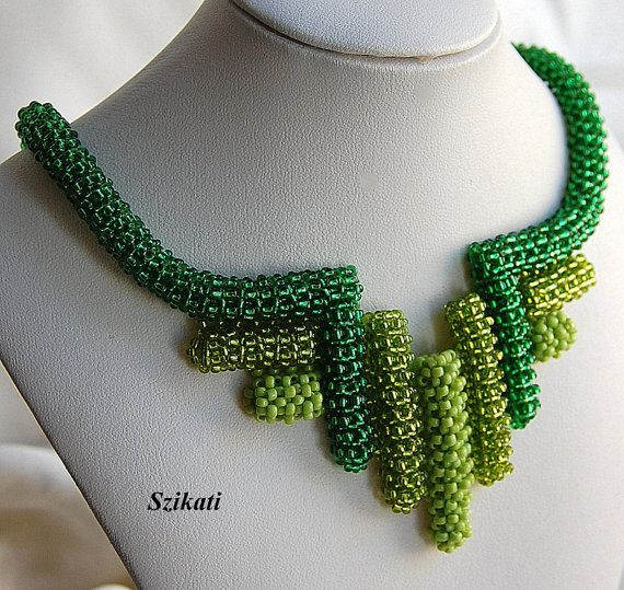 Beaded green seed bead Right Angle Weave necklace $135.00