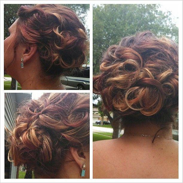 loved my hair for kim's wedding.  Bridesmaid  hair Wedding hair.  updos