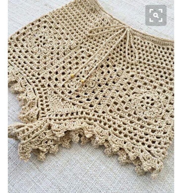 Short de praia em crochê