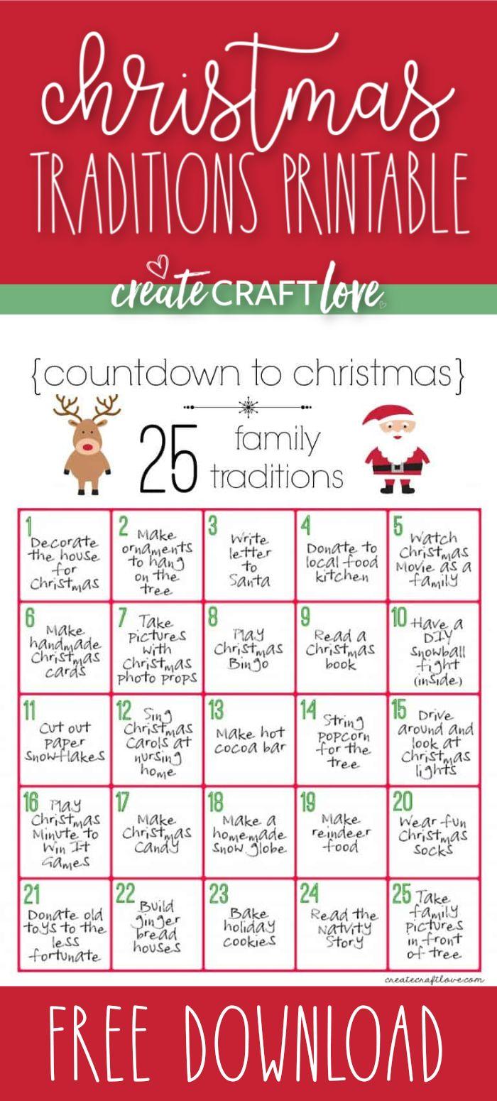 Christmas Traditions Printable Free Christmas Download Christmas Traditions Christmas Countdown Free Christmas