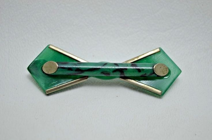Art Deco Machine Age Chrome Plastic Pin Jakob Bengel Vintage