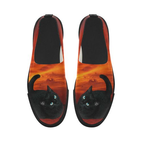Black Cat Apus Slip-on Microfiber Women's Shoes(Model 021)