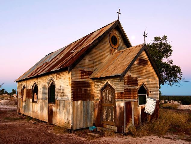 Photo: This Church was built for the film 'Goddess of 67' You will find it along the yellow car door tour out on the Three Mile Road.  It's well worth a look on your next visit to Lightning Ridge :)