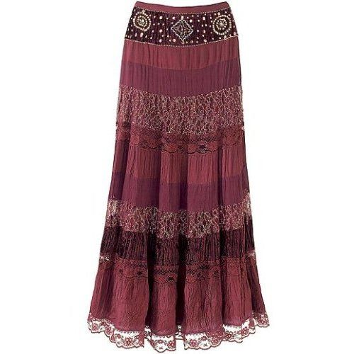 Country Style Dresses And Skirts | ... Brown Color Fit And Flare Long Skirt Design With Silk And Lace Work