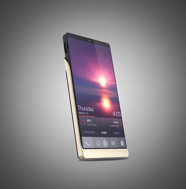 Bella - Smartphone concept. a curved metal frame wrapped around a plycarbonate. Click for more information and more pictures. #smartphone #technology #YankoDesign