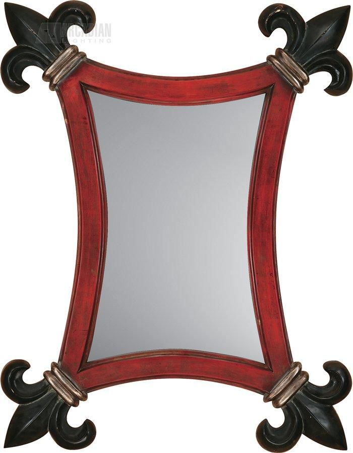 Joey Duncan Red/Black Fleur-de-lis Traditional Wall Mirror