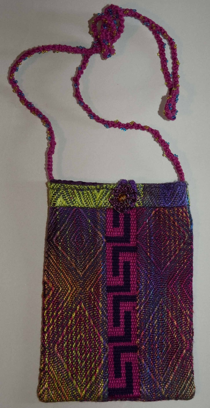 Bag made from leftover handwoven fabrics