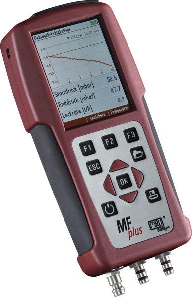 MFplus Multifunkcionális mérőműszer: Nyomás / differenciálnyomás mérés, hőmérséklet / hőmérséklet különbség mérés, terhelés mérés, tömítettség vizsgálat, szivárgás keresés, repedés vizsgálat, páratartalom mérés, áramlási sebesség mérés, 4 Pa-Teszt