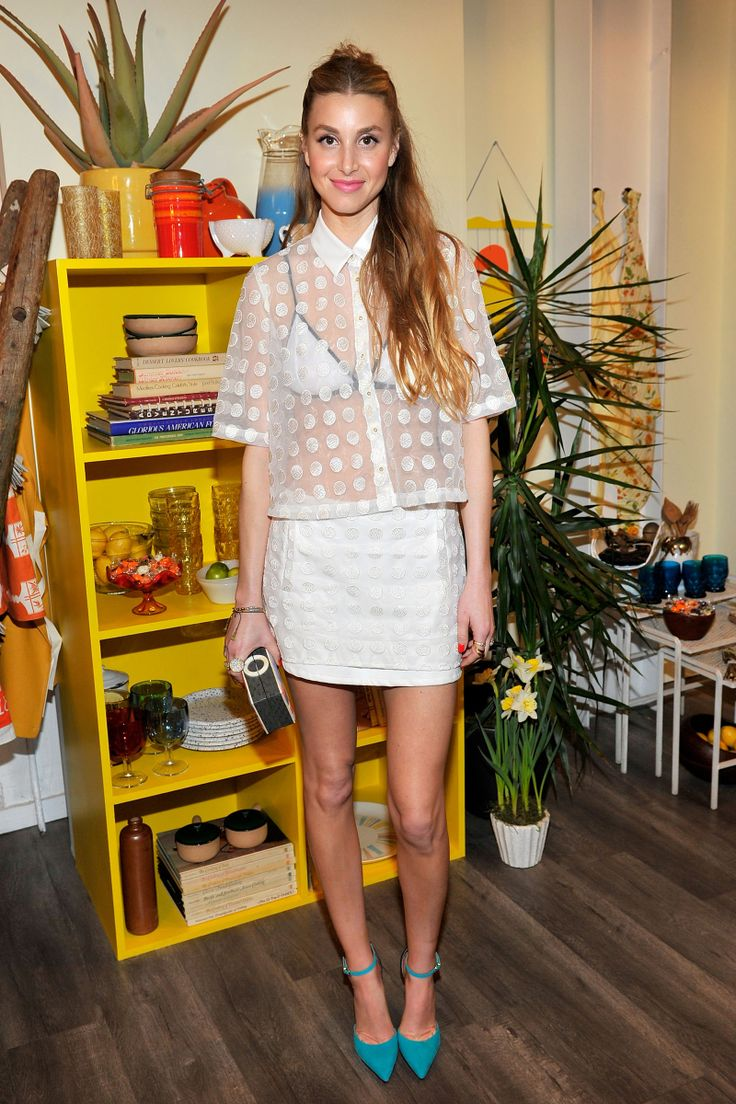 Whitney Port wears a Triangl Bra Top underneath a Whitney Eve Dot Up blouse and matching skirt // #Style #Fashion #Spring