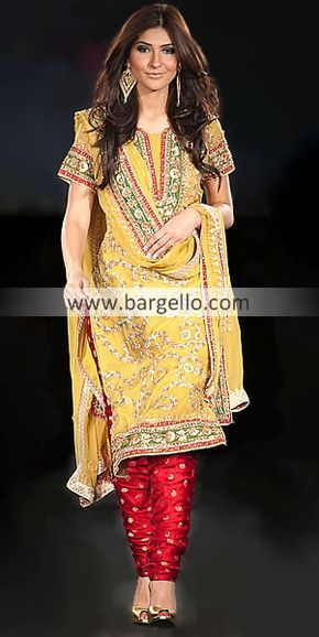 D3573 Yellow Indian Pakistani Outfits, Beautiful Yellow Dresses For Mehndi Weddings, Mehndi Dress Designs Party Wear