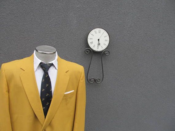 1980s Vintage Yellow Blazer / Mens Suit Jacket 44T / 44L /