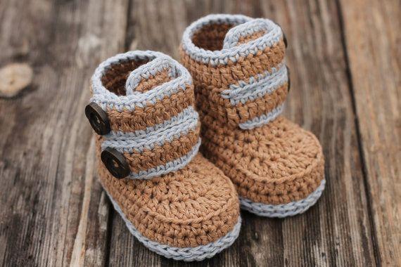 "Crochet Pattern Baby Booties, Baby Boy Booties ""Kohl Button Boot"" Modern Bootie…"