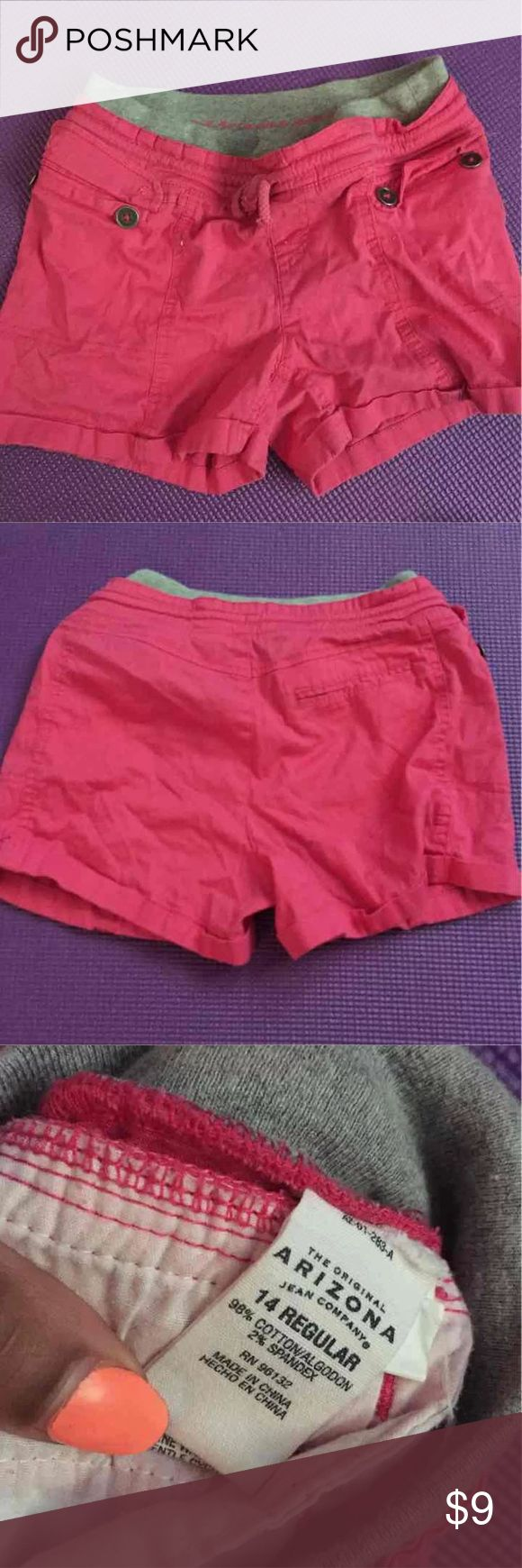 Pink Shorts Arizona Jeans Brand  Sized Girls 14  Could account to a XS in women's   Has a small pocket on the back  Drawstring  Two button yo pockets  Grey waistband Arizona Jean Company Shorts