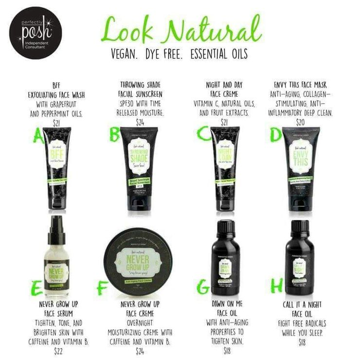Our Look Natural Line vegan skin care products from Perfectly Posh!   Look for them at https://angelacasher.po.sh
