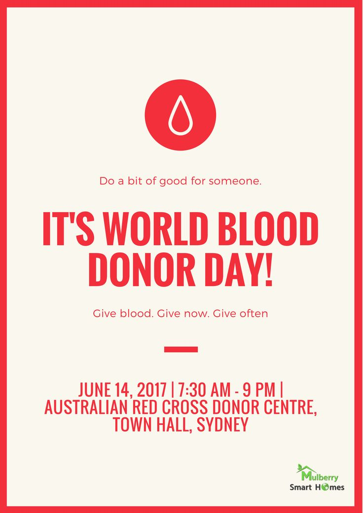 Give Blood, Give Now, Give Often. It's World Blood Donor Day! @Australian Red Cross Blood Donor Centre Town Hall Sydney