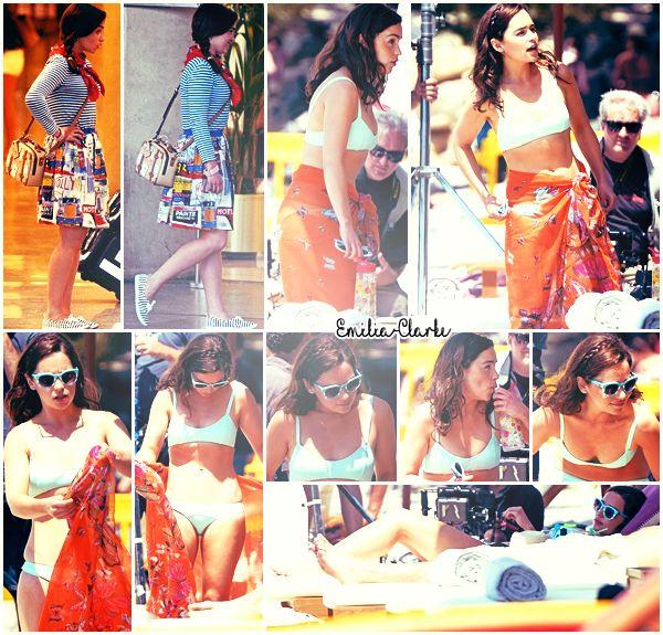 10 Juin 2015  :    Emilia était sur le tournage du film « Me Before You » avec sa co-star Sam Claffin en Espagne : → Emilia était à deux endroits différents pour le tournage : l'aéroport de Palma de Majorque et la plage de Formentor. (Îles Baléares)
