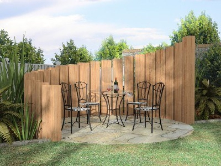 Arbor with furnitures in sunny day - soundproof the uprights and place behind shed