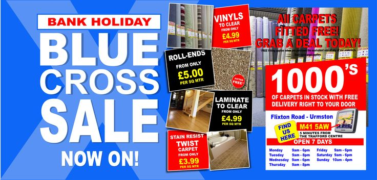 Have you seen our amazing Blue Cross Sale that is happening over the Bank Holiday Weekend!  Our massive carpet warehouse on Flixton Road in Urmston is crammed full of carpet bargains, we hope you will be spoiled for choice! We have over 500 rolls of carpet and carpet roll ends / remnants in stock today.