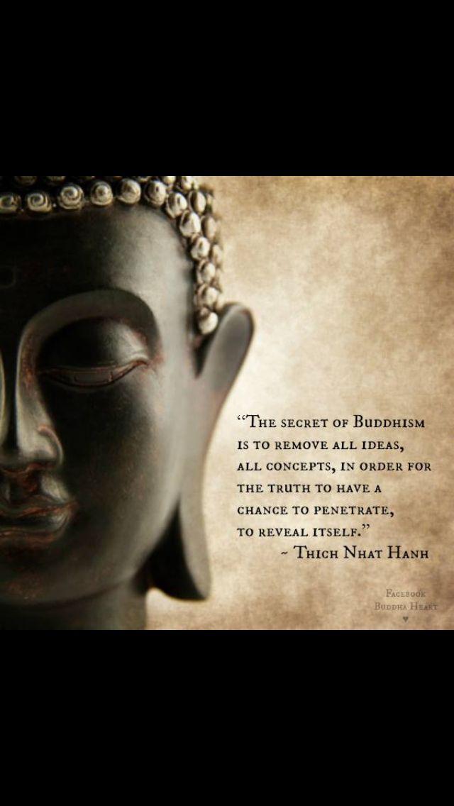 """""""El secreto del budismo es remover todas las ideas, todos los conceptos, de manera que la verdad tenga la oportunidad de penetrar, de revelarse por sÍ misma"""" – Thich Nhat Hahn"""