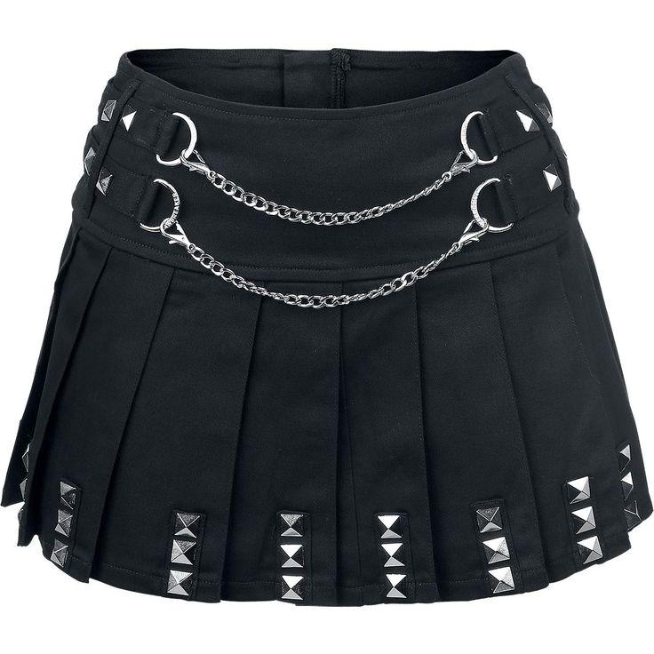 Que mejor que esta falda Punk Skirt de Jawbreaker para mostrar tu estilo. Tiene dos cadenas plateadas por delante, una cremallera trasera por detrás y tachuelas por el borde.