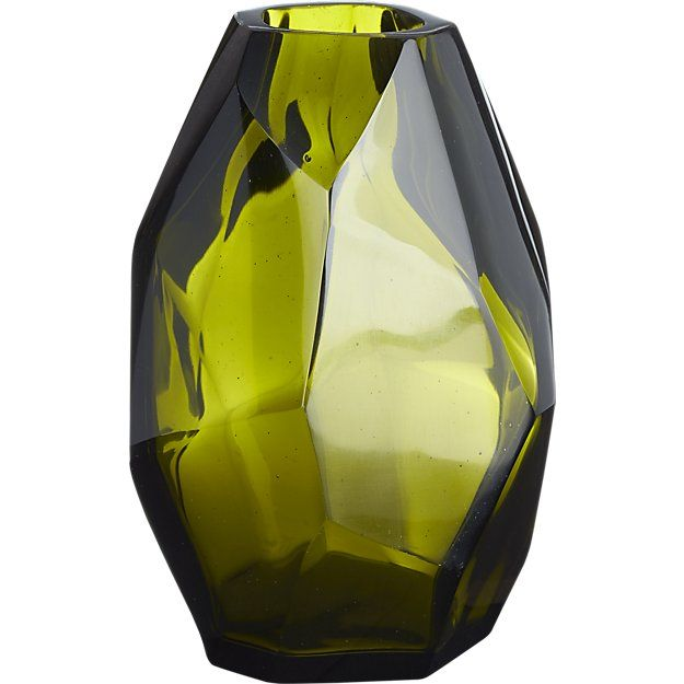 "Olive Vase | $29.95 | 4.25""Wx4.25""Dx6.75""H| CB2 | Built-ins"