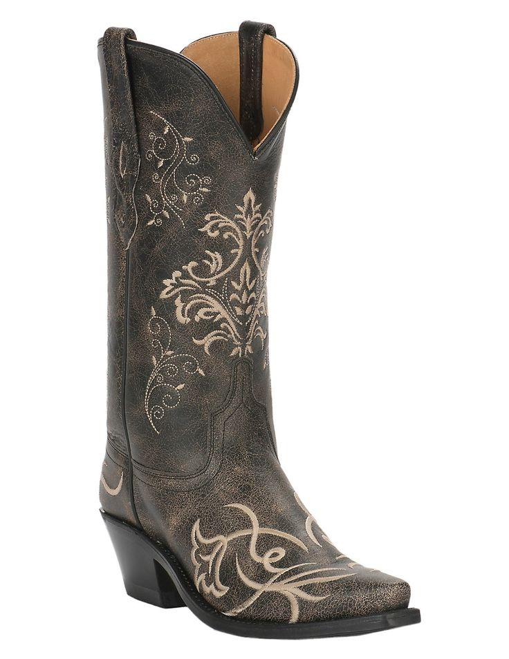 Old West Women's Vintage Charcoal with Fancy Embroidery Snip Toe Western Boots | Cavender's