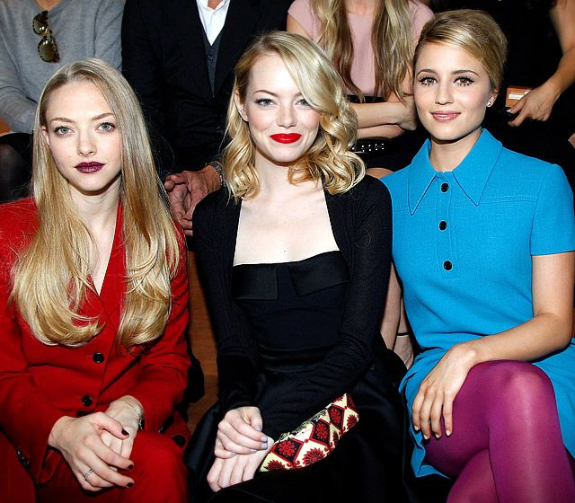 Amanda Seyfried, Emma Stone and Dianna Agron kept their cool in the front row at the Miu Miu Spring/Summer 2013 show at Paris Fashion Week Oct. 3    Read more: http://www.usmagazine.com/hot-pics/les-blondes-2012310#ixzz29OS2X43X