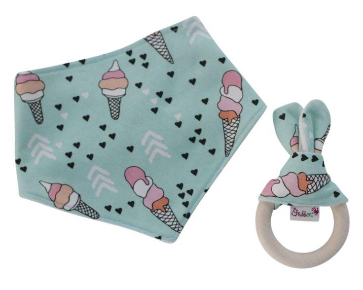 Organic bibdana and teether gift set. Handmade gifts for baby. ice-cream bib set.