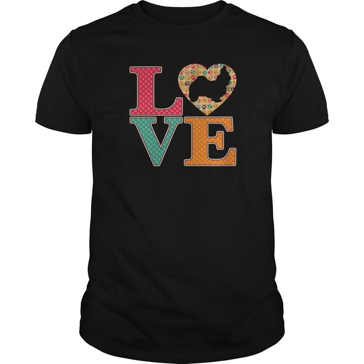 Shih Tzu Dog Lover uses the famous LOVE template and colorful paw prints inside the text. The heart features a transparent dog silhouette so your garment color shows through.