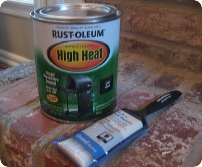 Rustoleum High Heat paint to update the brass trim around the fireplace (also in spray paint)