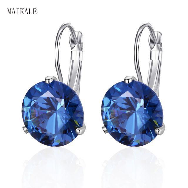984fec670d205 MAIKALE 10MM Korean Earrings Simple AAA Cubic Zirconia Copper Plated ...