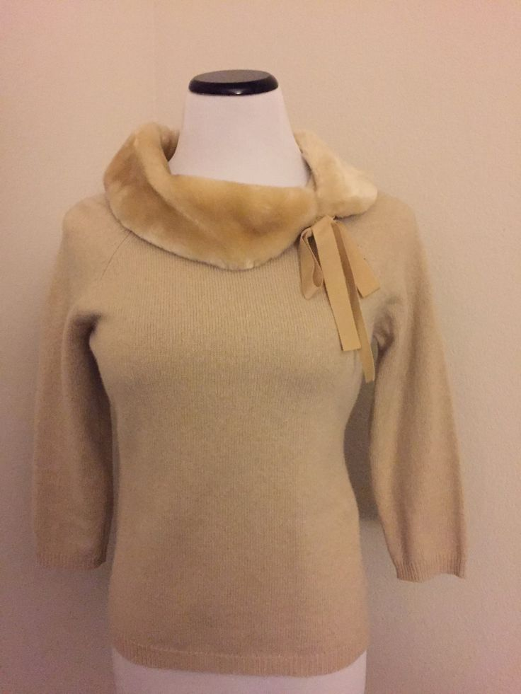 Vintage Sweater with Faux Fur Collar by TreZureBox on Etsy